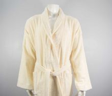 Luxurious linenHall, 500gsm 100% Cotton Shawl Bath Robe in Cream